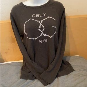 Grey Obey crew-neck size medium